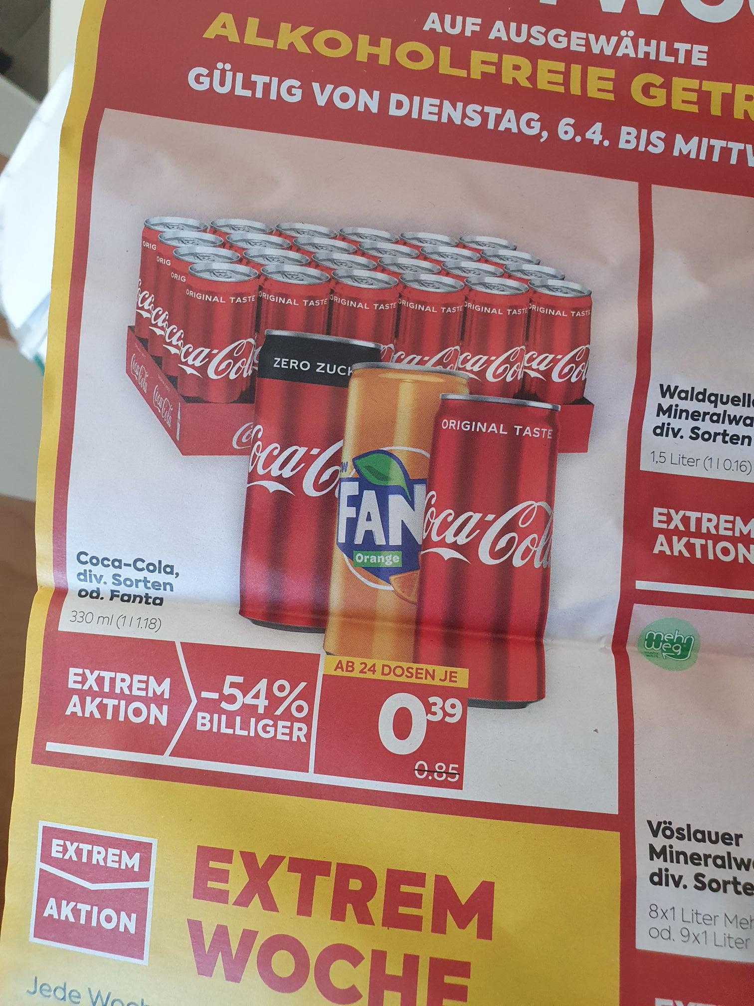 Billa & Billa Plus Coca Cola, Fanta Extrem Aktion