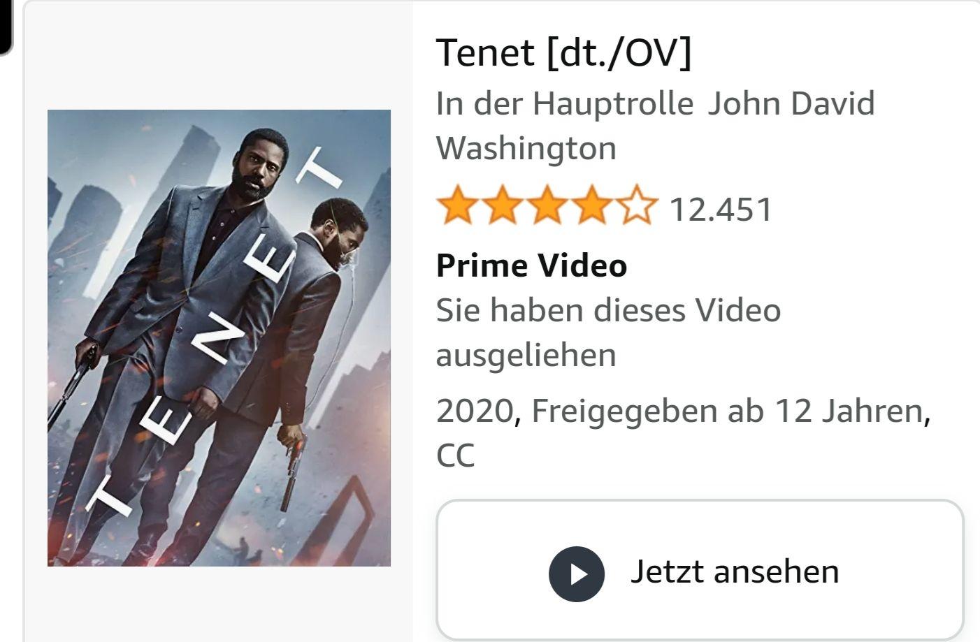 Leihen: TENET auf Amazon Prime
