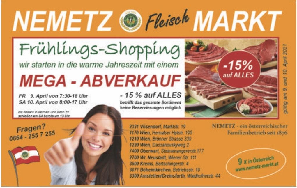 Nemetz Markt: -15% auf Alles am 9.&10.4.2021
