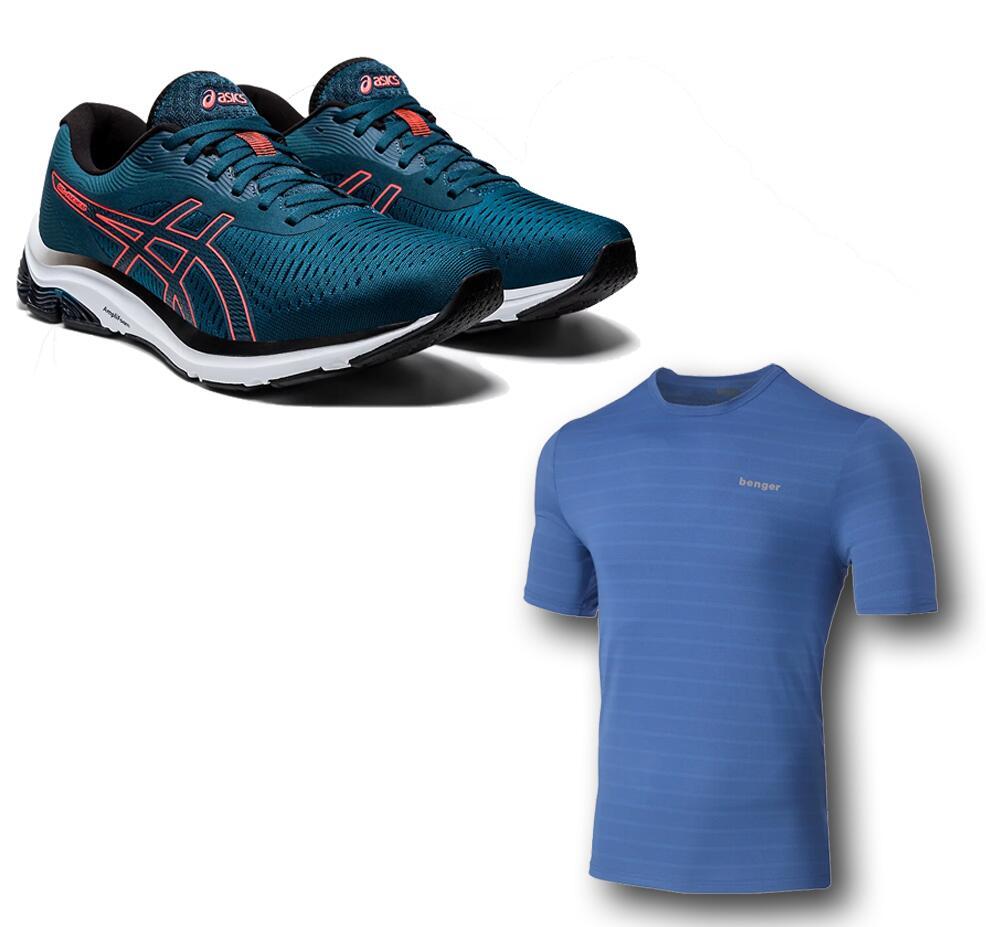 Asics Gel-Pulse 12 Herrenlaufschuh + Benger Laufshirt