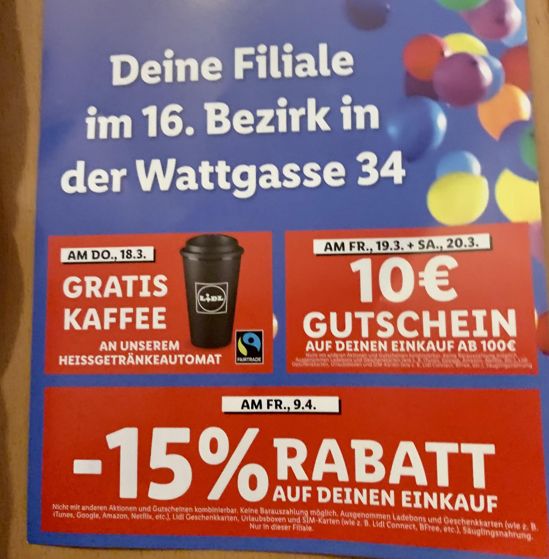 Lidl Wattgasse - 15% auf Einkauf am 9.4.