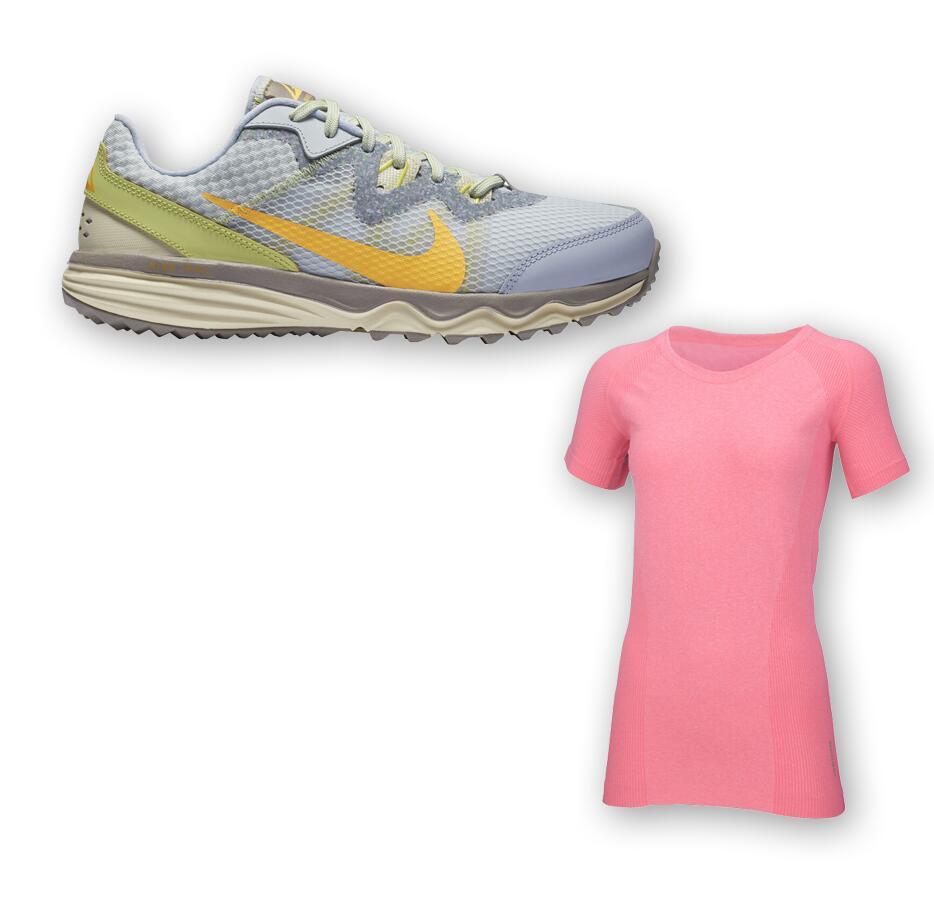 Nike Juniper Trail Damenlaufschuh + Benger Seamless Laufshirt