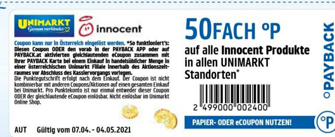 50 FACH PAYBACK Punkte auf Innocent Produkte beim Unimarkt