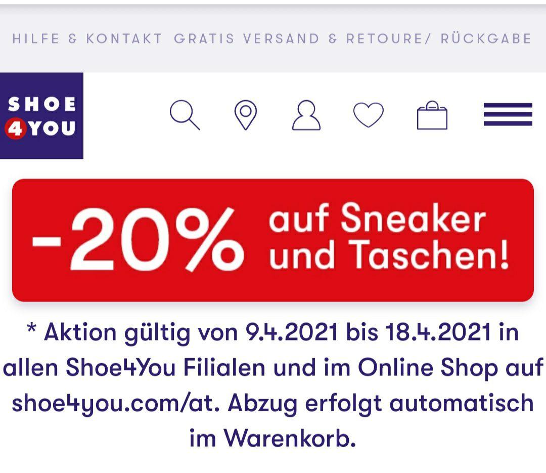 -20% bei Shoe4you auf Sneaker und Taschen inkl. SALE