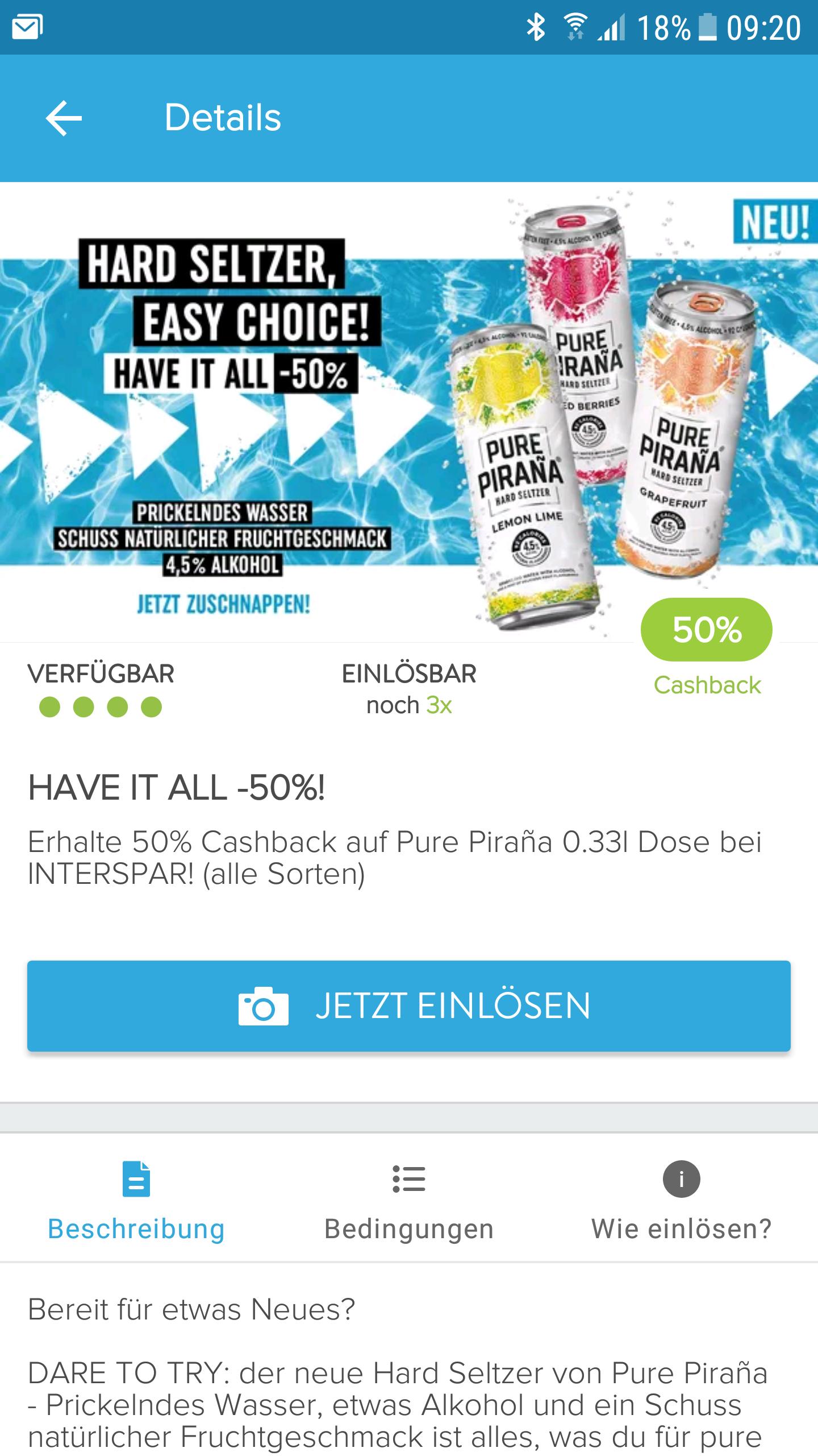 50% Cashback für Pure Piraña