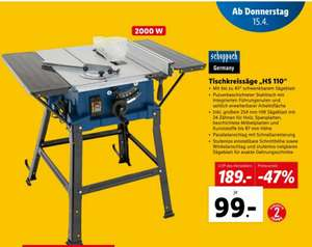 Tischkreissäge HS 110 beim LIDL um € 99