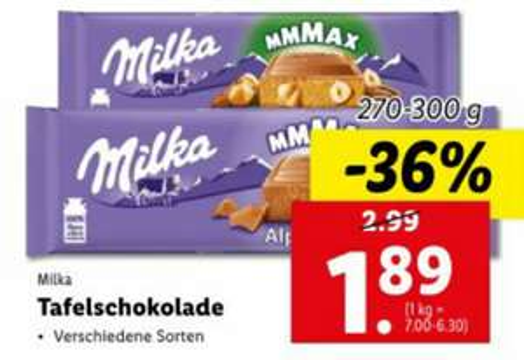 Milka Schokolade 300g beim Lidl um € 1.89