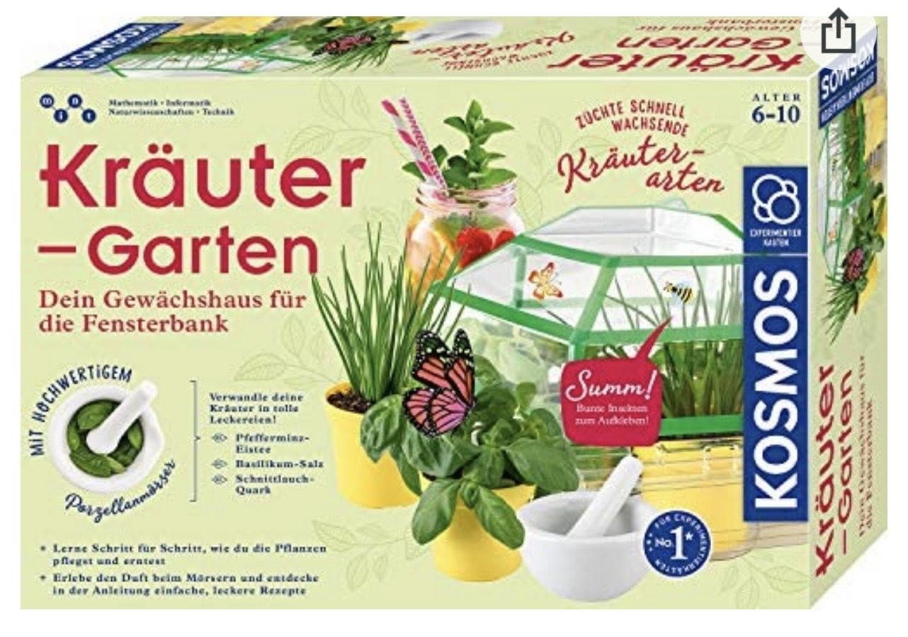 KOSMOS 632090 - Kräuter-Garten, Mit Mörser aus Porzellan, Experimentierkasten für Kinder ab 6 Jahre