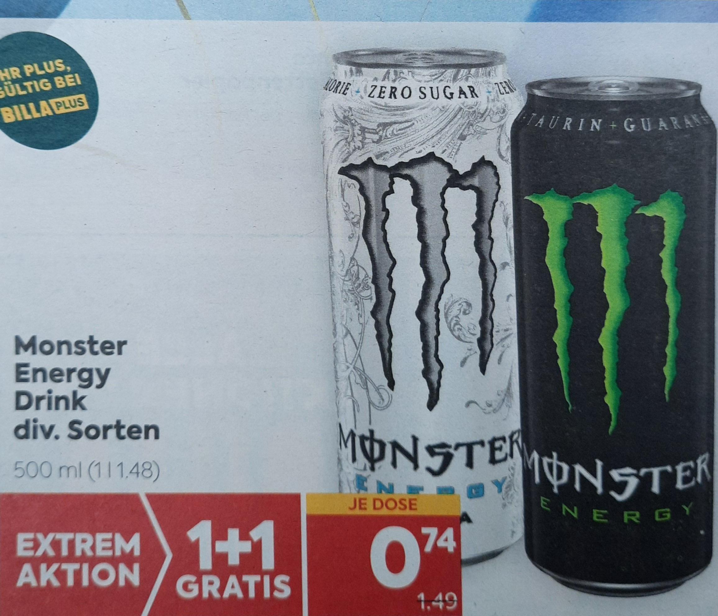 [Billa Plus] Monster Energy 1 + 1 gratis