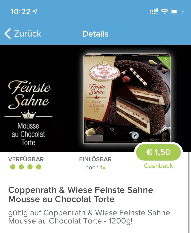 Marktguru - Cashback 1,5€ Mousse au Chocolat Torte