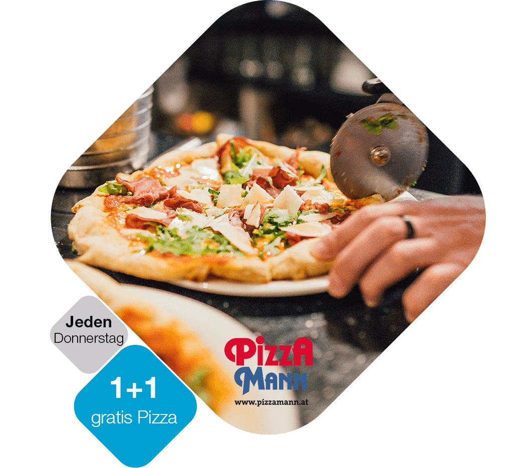 """""""Drei & PiZZA MANN"""" 2 Pizzen jeden Donnerstag zum Preis von einer Pizza: exklusiv für Drei Kunden"""