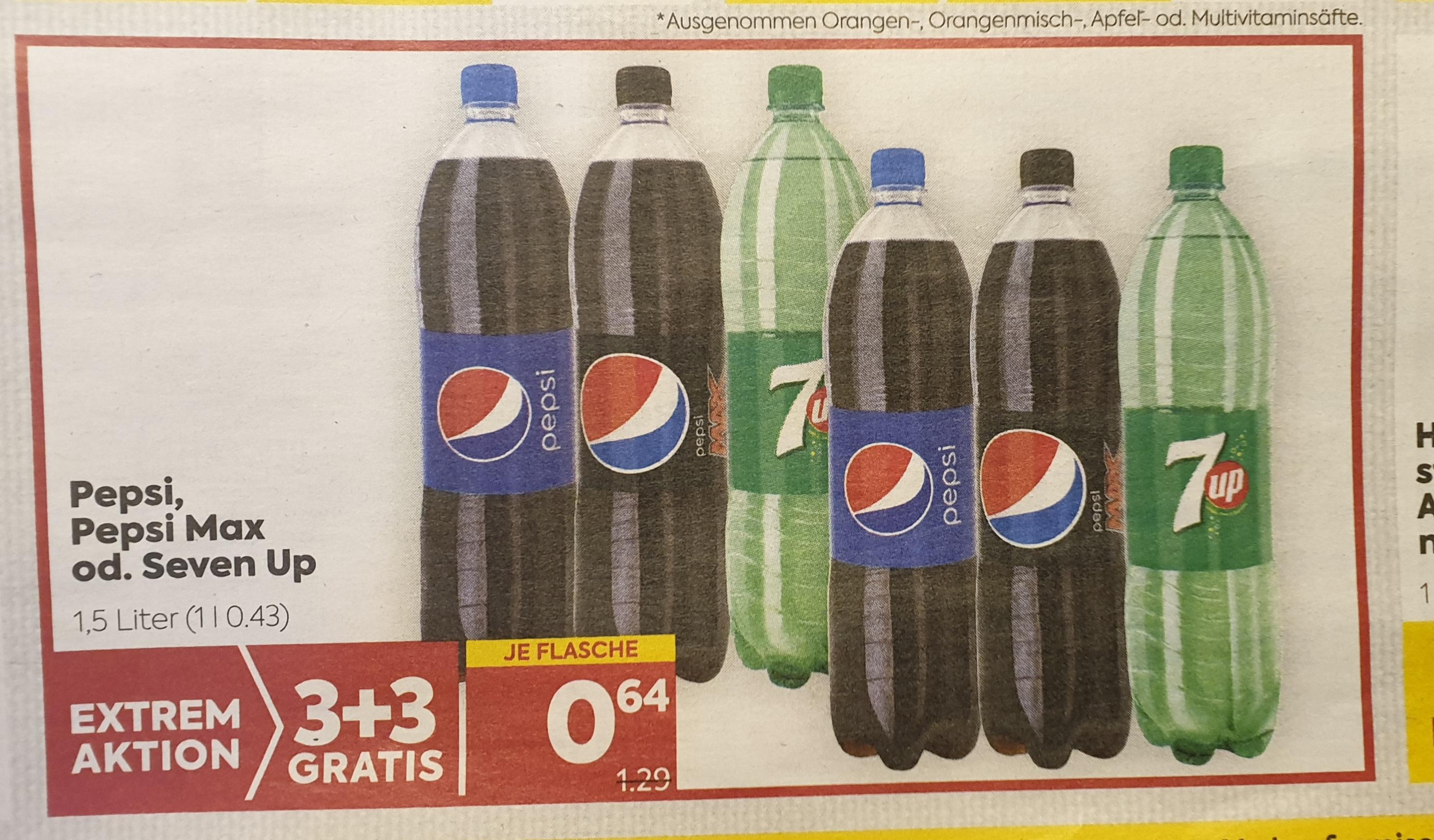 Extrem-Aktion 3+3 Gratis auf Pepsi, Pepsi Max und 7Up. Bei Billa und Billa-Plus