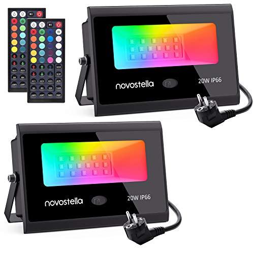 2er-Set Novostella RGB Strahler mit Fernbedienung, 20W, IP66
