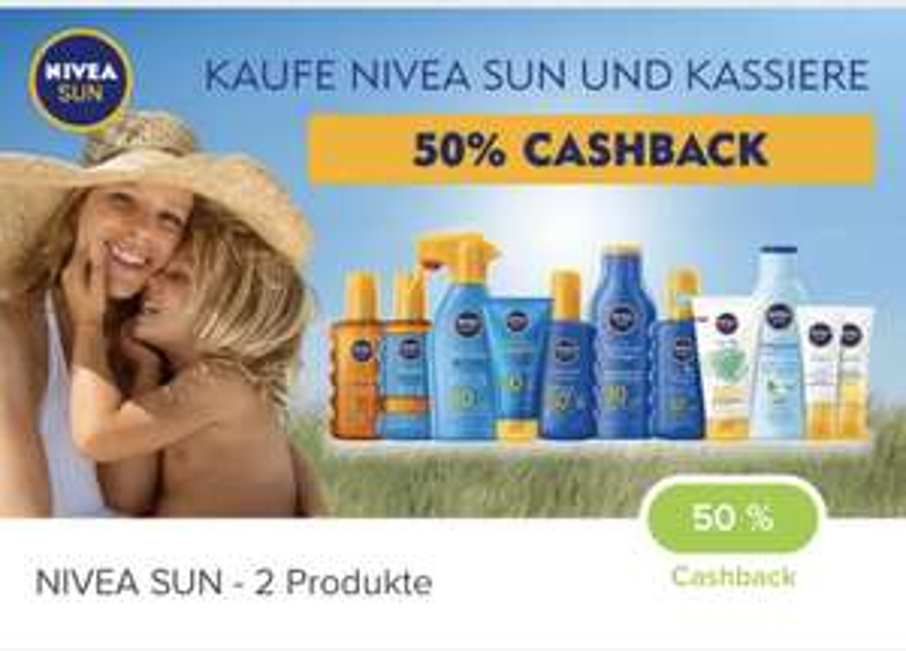 Nivea Sun Produkte diverse Casback deals -10€/-15€ oder -50%