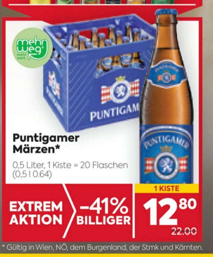 PUNTIGAMER Kiste um € 12.80 beim BILLA/BILLA PLUS