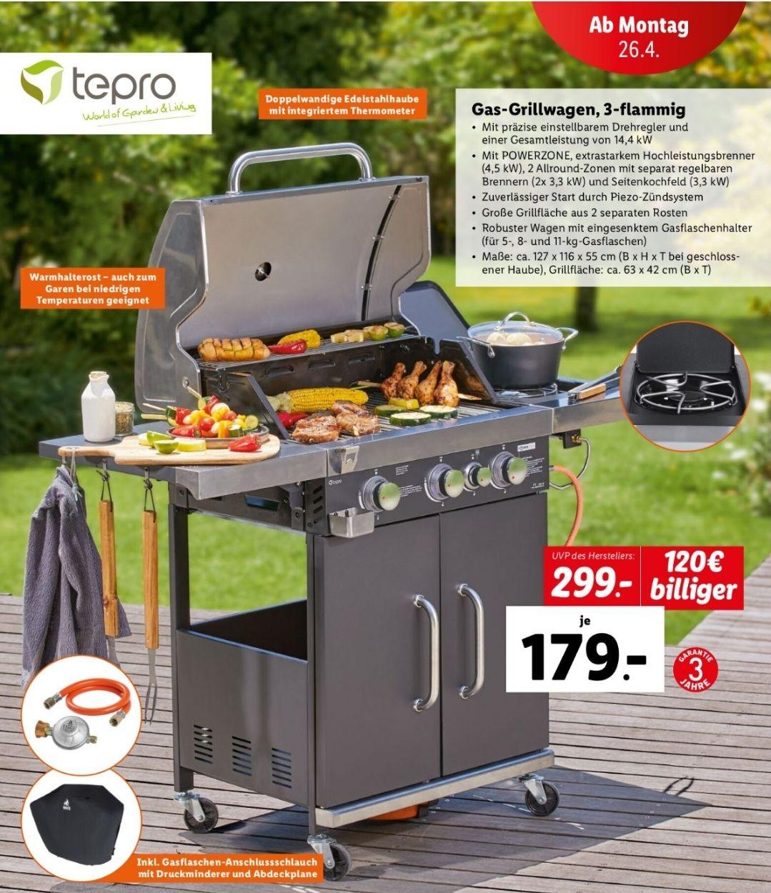 Tepro Gas-Grillwagen, 3-flammig