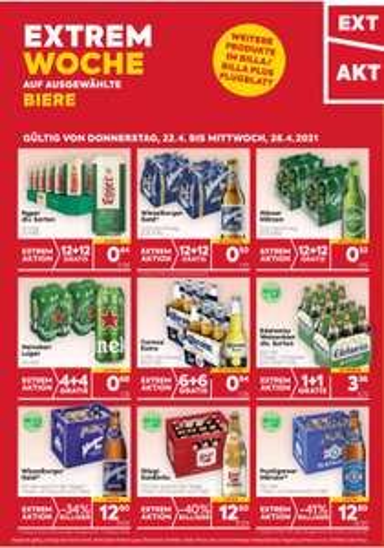Extrem Woche auf verschiedene Biere, Preisbeispiel 1 Kiste Puntigamer € 12,80 bei Billa bzw Billa-Plus