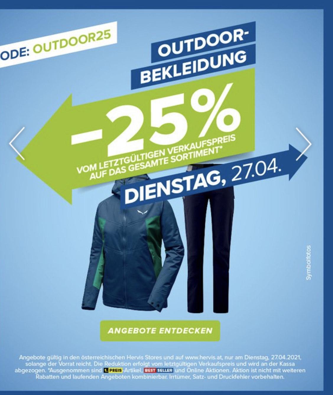 -25% auf Outdoorbekleidung beim Hervis nur am 27.04.