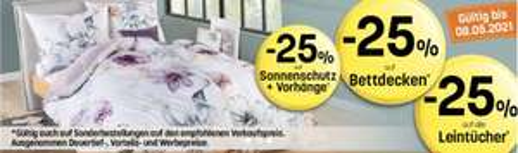25% auf Sonnenschutz+Vorhänge/Bettdecken & Leinentücher bei Reiter