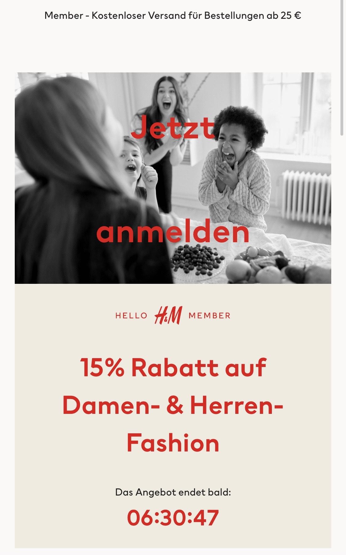 H&M 15% Rabatt auf Damen und Herren-Fashion