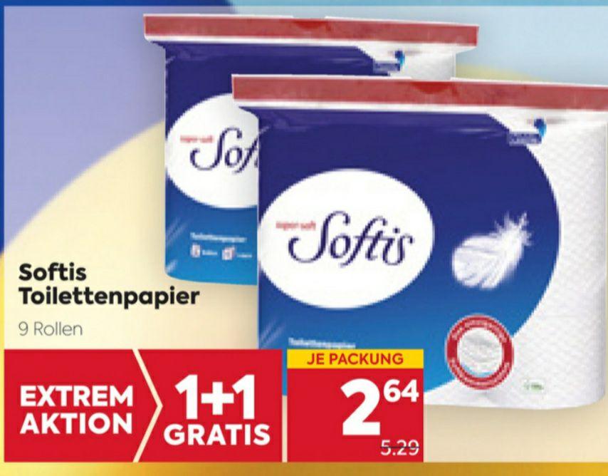 SOFTIS Toilettenpapier 9 Rollen 4-lagig 1+1 gratis je € 2.64