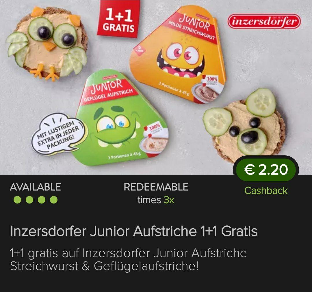 [Marktguru] Inzersdorfer Junior Aufstriche 1+1 gratis