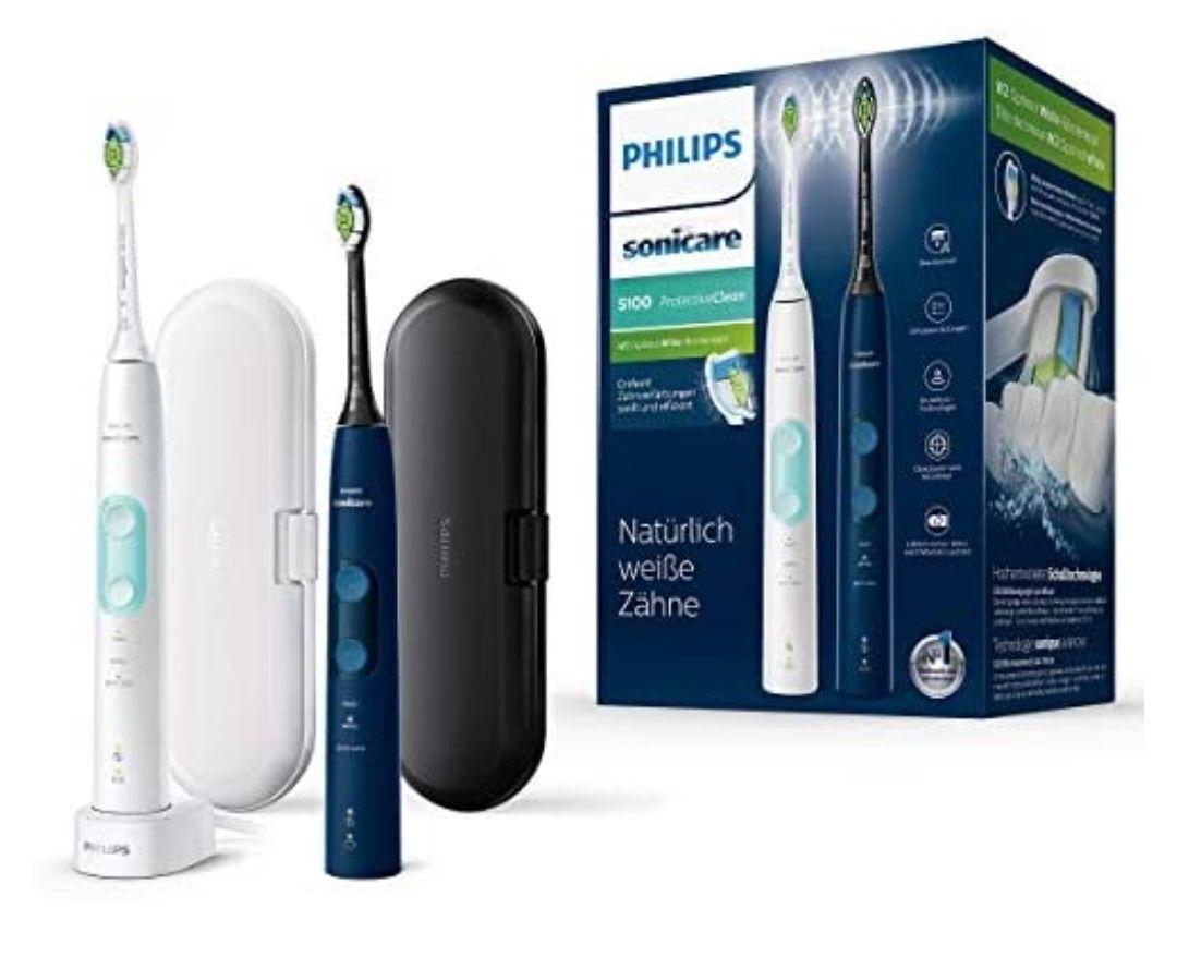 Philips Sonicare ProtectiveClean 5100 elektrische Zahnbürste HX6851/34 Doppelpack – 2 Schallzahnbürsten