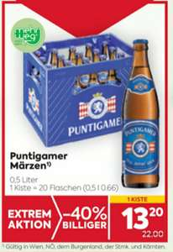 PUNTIGAMER BIER Kiste um € 13.20