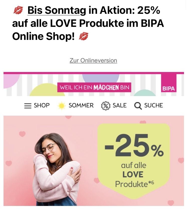 BIPA 25 Prozent auf alle Love Artikel