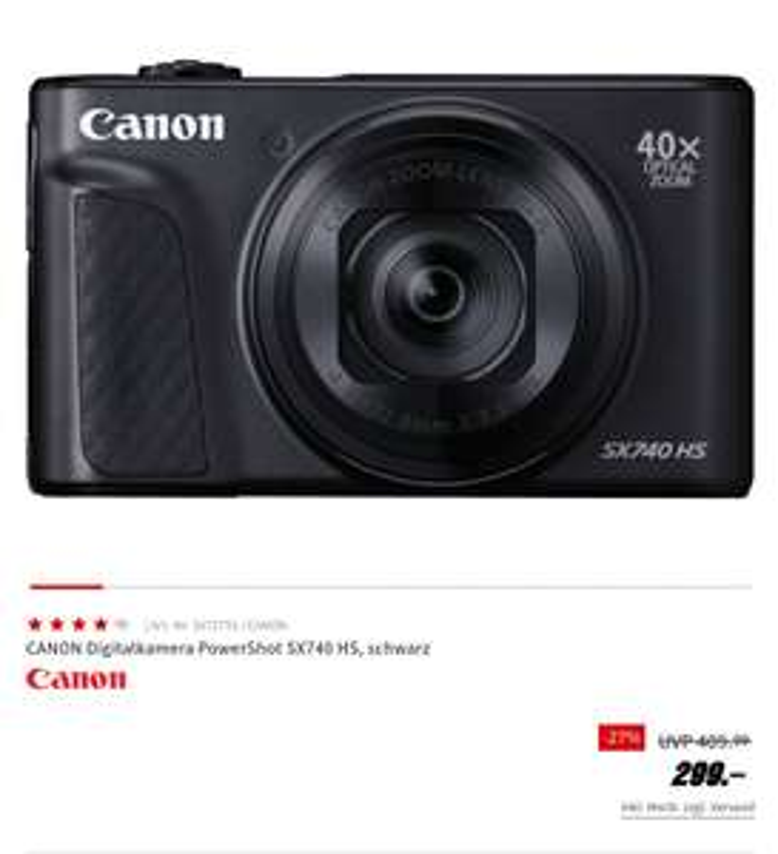 Travelzoom-Kamera Canon PowerShot SX740 HS
