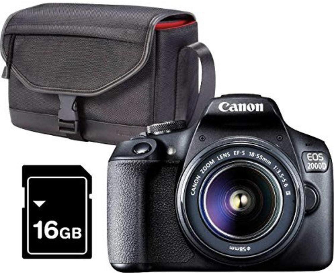 CANON EOS 2000D mit Objektiv EF-S 18-55mm 3.5-5.6 III inkl. Tasche SB130 + 16 GB Speicherkarte