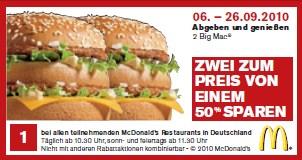 Neue McDonalds- und Burger King Gutscheine - bis zu 50% sparen
