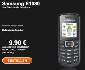 Prepaid-Handy Samsung E1080 + 5€ Startguthaben für 9,90€
