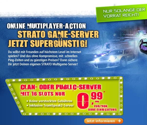 Strato 16-Slot Gameserver (Clan oder Public) für nur 0,99€ pro Monat mieten