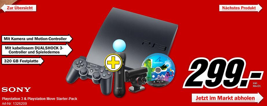 PS3 320GB + Move Starter Pack für 299€ im Media Markt