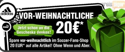Volle 20€ Rabatt im Soccer-Fans Shop: Sportbekleidung sehr günstig (nur Versand fällt an)!