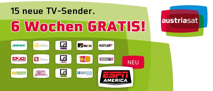 Kostenlos 6 Wochen AustriaSat (Pay-TV) unverbindlich testen *Update* Neuer US-Sportsender: ESPN