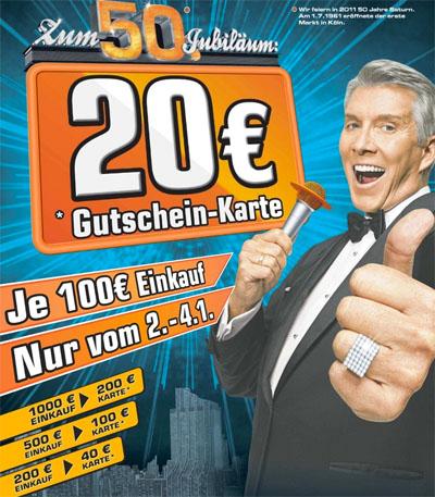 Saturn Neujahrsaktion: Je 100€ Einkauf eine 20€ Gutschein-Karte