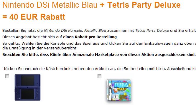 Nintendo DSi + Tetris Party Deluxe nur 129€