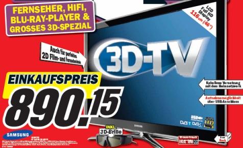 """Samsung LE46C750: 46"""" Full-HD 3D-TV für nur 890€ bei Media Markt *Update* Wieder bei Amazon bestellbar"""