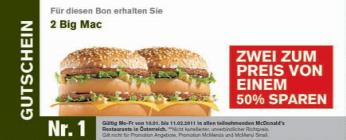 Gutscheine für McDonald's Österreich - ausdrucken und bis zu 50% sparen