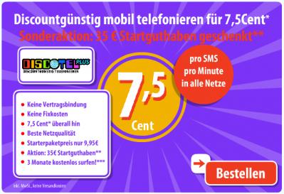 DiscoTel Prepaid Tarif (7,5 Cent) + Heute: Ein iPhone 3GS für jeden 20. Neukunden!