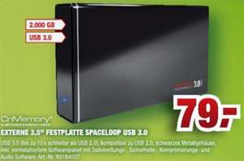 Externe USB 3.0 Festplatte CnMemory Spaceloop 2TB für 79€