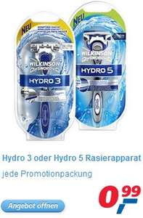 Wilkinson Hydro 3 und Hydro 5 Nassrasierer für 1€ im Einzelhandel *Update*
