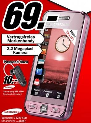 Samsung S5230 (Touchscreen-Handy) für 69€ bei Media Markt Deutschland