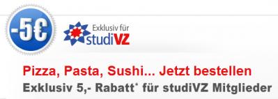 5€ lieferando Gutschein für VZ-Mitglieder - online günstig Essen bestellen