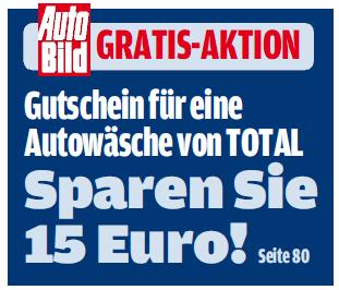 Gutschein für eine gratis Autowäsche (Wert: 15€) in jeder AutoBild-Zeitschrift für 1,60€