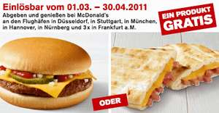 Neues McDonald's Gutscheinheft für Österreich & Gratis Cheesburger in deutschen Flughäfen