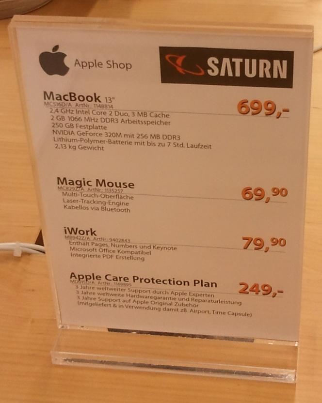 "MacBook 13.3"" MC516D/A für 699 Euro statt 906 Euro@ Saturn Innsbruck"