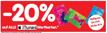 -20% Rabatt auf iTunes Karten (14.04. bis 16.04.) @ Interspar Österreich